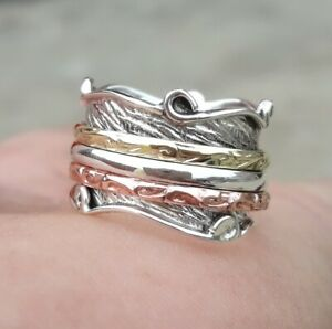 Solid-925-Sterling-Silver-Spinner-Ring-Meditation-Statement-Ring-Size-M469