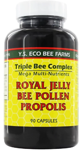 YS Organic Triple Bee Complex Royal Jelly Bee Pollen Propolis -90 Capsules