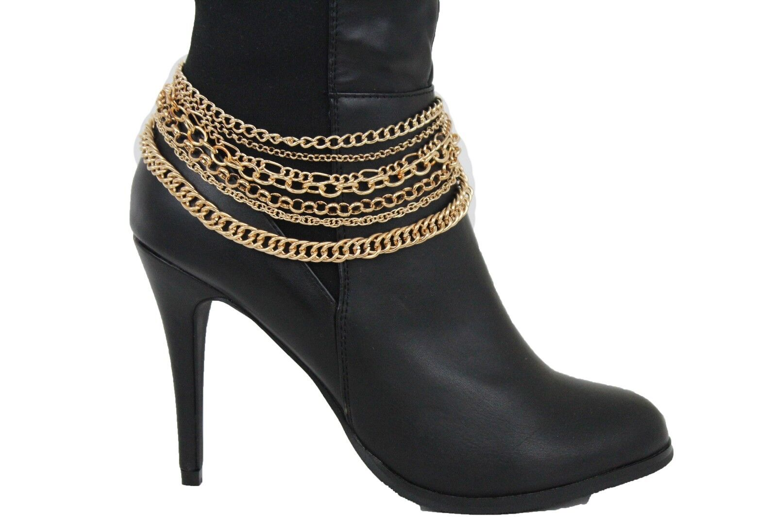 New Women Gold Metal Chain Boot Bracelet Anklet Shoe Bling Strands Charm Jewelry