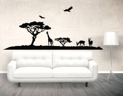 Savanna Wall Art Decal Vinyl Sticker Decor Mural Elephant Safari Africa Giraffe
