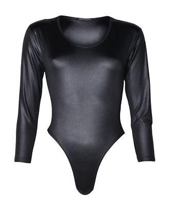 NEW WOMENS BLACK PVC WET LOOK LONG SLEEVED LEOTARD BODYSUIT TOP SIZE 8-18