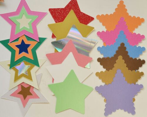 Choice of Pointed//Nested//Scolloped 20 x 110mm Star Shapes in Pearlised Card