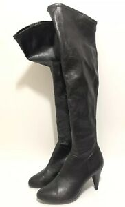 LEVERAGE-PARKER-BETH-RIESGRAF-Black-Leather-Knee-High-Boots-Screen-Used-Sz-8-5-M