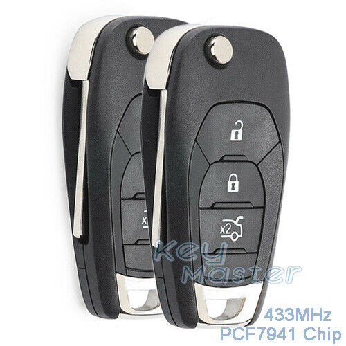 2x for Chevrolet Cruze Aveo 14-17 Replacement Flip 433MHz PCF7941 Remote Key Fob