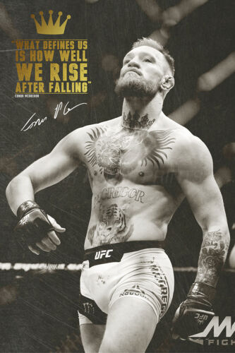 We rise after falling Conor McGregor quote photo print Poster pre signed