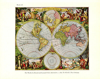 1965 VINTAGE MAP #76 THE WORLD VALK shown in 1690 COLOR Art Print Lithograph