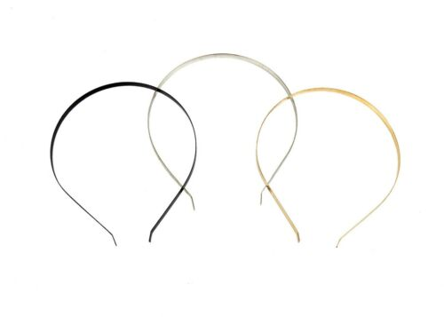 Gold 10 Pieces Flat Band Metal Headbands 7 mm Wide