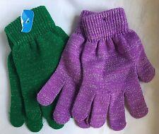 Children's Winter Purple And Green Metallic Gloves Set- New