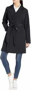 Essentials Women's Water-Resistant Trench Coat, Slate Black, Size X-Large