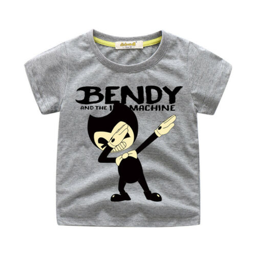 Boys Girls Bendy And The Ink Machine Costume T-shirt Cotton Blouse Shirt Tee Top