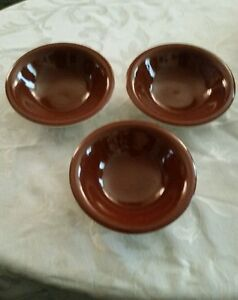 Sterling Vitrified China 3 Bowls East Liverpool Ohio Brown Ivory