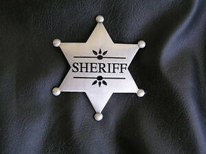 Old West Sheriff Star Badge High Quality Silver Plated
