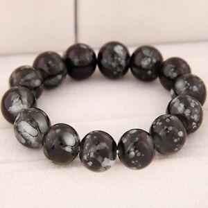 Large Glass Bead Stretch Beaded Bracelet Black