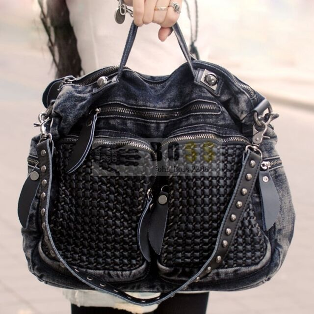 Women S Vintage Denim Bags Shoulder Messenger Punk Motorcycle Handbags Hobo