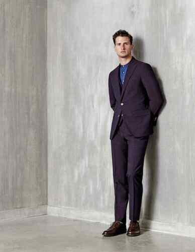 Summer fit Black Wedding Burgundy Seersucker Suit Sweeney Thom Mens Slim Dinner wxXpHpz1q
