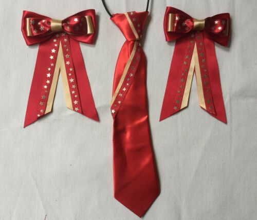 childs equestrian showing set show tie and bows In RED /& GOLD Stars Lead Rein