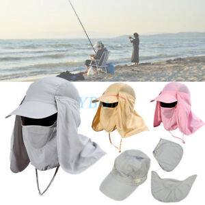 2ee74cdfcee 360°Unisex Fishing Cap Hiking Hat Neck Cover Ear Flap Outdoor UV Sun ...