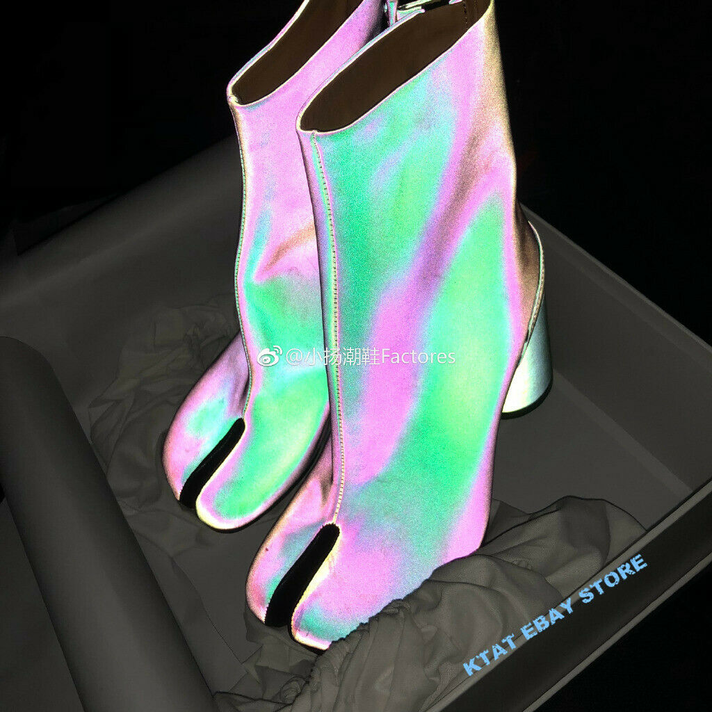 Mujer botas al Tobillo Tabi Cuero Genuino 3M reflejan la luz Lentejuelas Vogue Zapatos INS