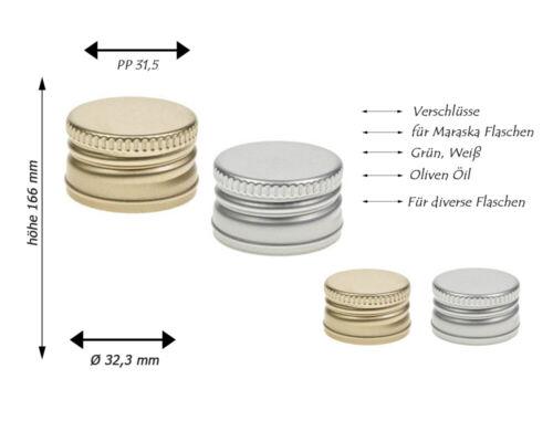25 x Schraubverschluss Ersatz Verschluss PP 31,5 hoch ohne Rollrand Silber