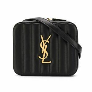 Saint Laurent Ysl Vicky Quilted Leather Belt Bag Black