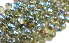 16 BLACK DIAMOND AB CZECH GLASS TEAR DROP BEADS 8MM