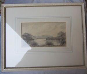 Antique-vintage-original-watercolour-of-Lake-District-Scene-by-B-Robinson