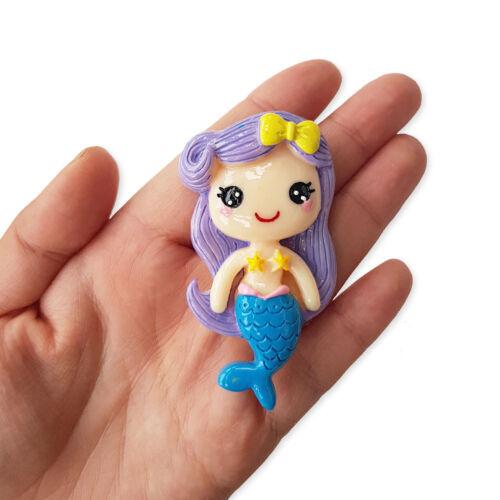 1pc Jumbo Mermaid Girl Resin Flatback Cabochon Embellishment Decoden Craft