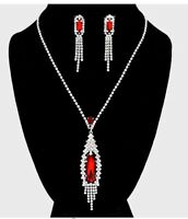 Red Clear Wedding Pageant Rhinestone Crystal Formal Necklace Jewelry Set Earring