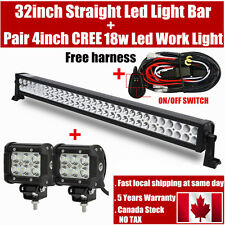 32inch LED Light Bar Combo + 4inch Cree Work 4X4 Off road Truck Jeep SUV 30/34