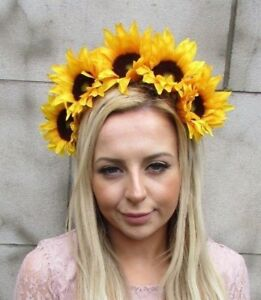 Large yellow sunflower flower headband hair crown festival garland image is loading large yellow sunflower flower headband hair crown festival mightylinksfo