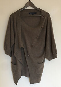 FRENCH-CONNECTION-Ladies-Wool-Mix-Mink-Brown-Asymetric-Lagenlook-Cardigan-UK10