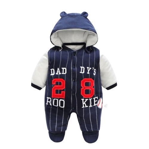 Newborn baby boys winter thick warm cotton padded bodysuit/& hat /& shoes 3pcs set