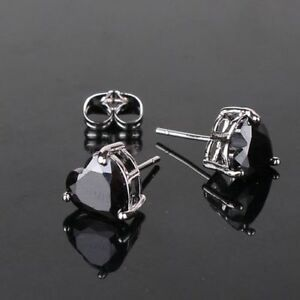 Image Is Loading 18ct White Gold Filled Onyx Black Heart Stud