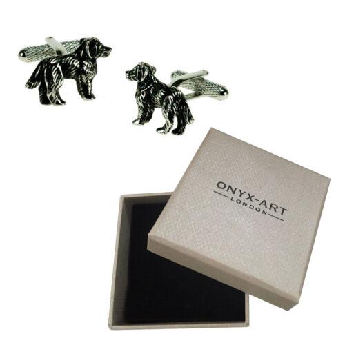 Para Hombre Spaniel Perro Mascota Animal Gemelos /& Caja De Regalo Por Onyx Art