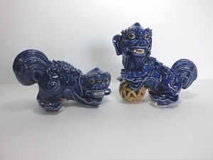 "7.1""China Jingdezhen Bule Glaze Porcelain Ceramics Foo Fu Dog Guardion Lion Pair"