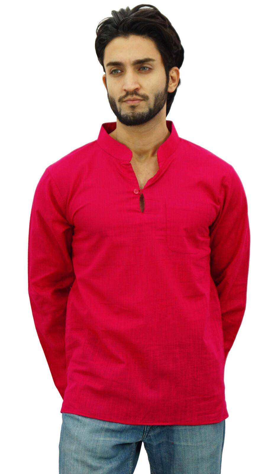 Atasi Men's Band Collar Short Kurta Fuchsia Cotton Casual Shirt-Small-wUr