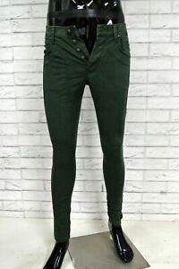 Pantalone-Uomo-JECKERSON-Taglia-29-Pants-Man-Verde-Elastico-Jeans-Slim-Fit-Homme