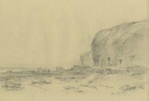 Ralph Stubbs, Sandsend Beach, N. Yorkshire – Late 19th-century graphite drawing