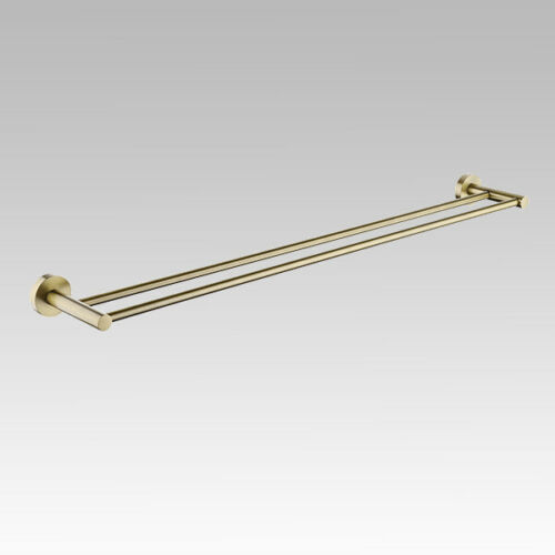Pentro Brushed Yellow Gold Double Towel Rail 790mm