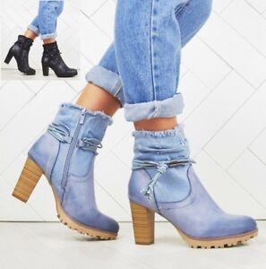 Mujer-Damas-Tacon-Bloque-Tobillo-Botas-De-Suela-Agarre-Denim-Diseno-Moda-Zapatos-Talla