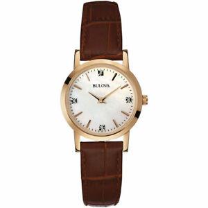 Bulova-Women-039-s-Quartz-Diamond-Accent-White-MOP-Dial-Leather-27mm-Watch-97P105