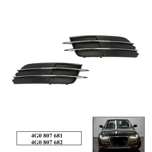 Front Bumper Grilles Cover Grill Chrome For AUDI A6 C7 Sedan 11-14 Left Right