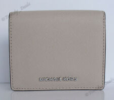 Michael Kors Jet Set Travel Carryall Card Case Mini Wallet Saffiano Cement Grey