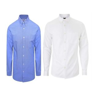Mens-White-Oxford-Shirt-Button-Down-Collar-Long-Sleeved-Slim-Fit-Blue-Cotton-Top