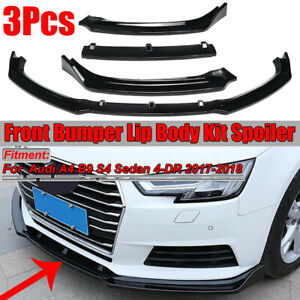 Para-Audi-A4-B9-S4-Sedan-2017-2018-3PCs-Negro-Brillante-Parachoques-Frontal-Lip