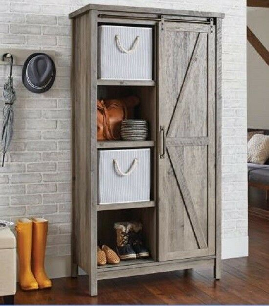 Small Kitchen Cabinet Bookcase Rustic Farmhouse Barn Door Pantry