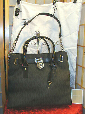 MICHAEL KORS Hamilton Lock & Key Black Logo Leather Shoulder & Dust Bag NWOT   eBay