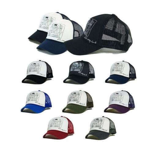 Mens Womens Basquiat graffiti Mesh Baseball Cap Trucker Snapback Hats Gray