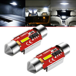 2X-31mm-White-Festoon-C5W-LED-Bulb-1860-SMD-CANBUS-6000K-Interior-Dome-Map-Light