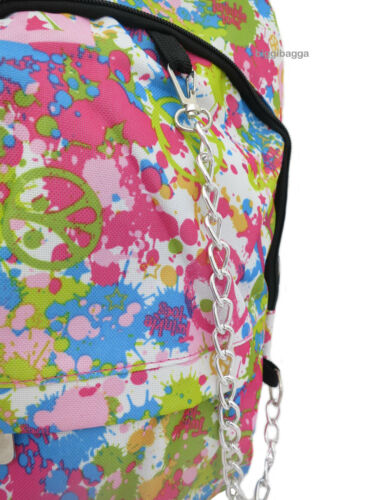 PAINT SPLASH Peace Backpack Rucksack School College Goth Emo Skull Gym Gig Bag